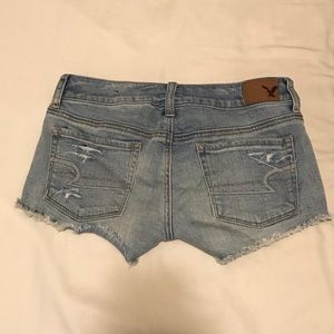 Shorts - AMERICAN EAGLE- Light Blue Denim Lacey Shorts
